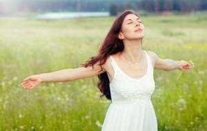 stress free woman in field